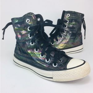 Converse All Star Shimmer Rainbow Hi Top Size 5